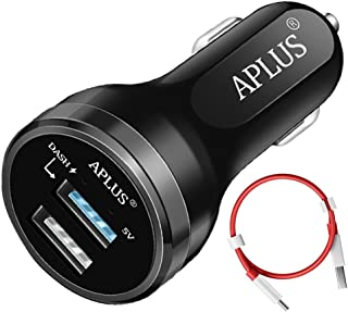 Dash Car Charger, Aplus Dual USB Charging Rapidly Car Charger for Oneplus 3 / 3T / 5 / 5T / 6 / 6T (Black)