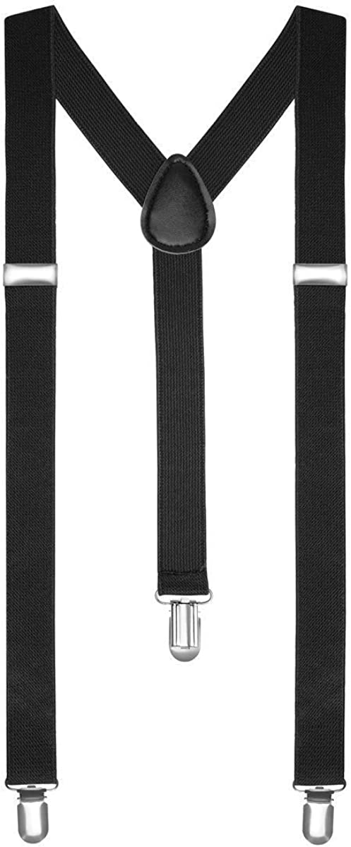 Boolavard TM Braces/Suspenders One Size Fully Adjustable Y Shaped With Strong Clips