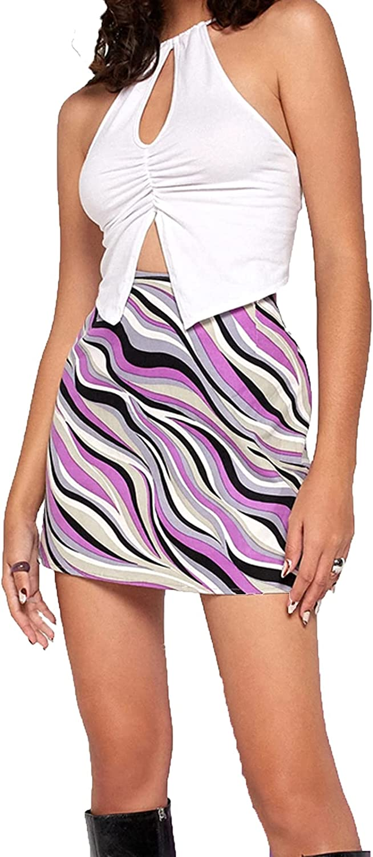 Shanenxn Women's Fashion Striped Printed Mini Skirt Casual High Waist Bodycon Short Skirts