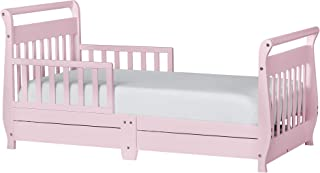 Dream On Me Sleigh Toddler Bed with Storage Drawer, Pink