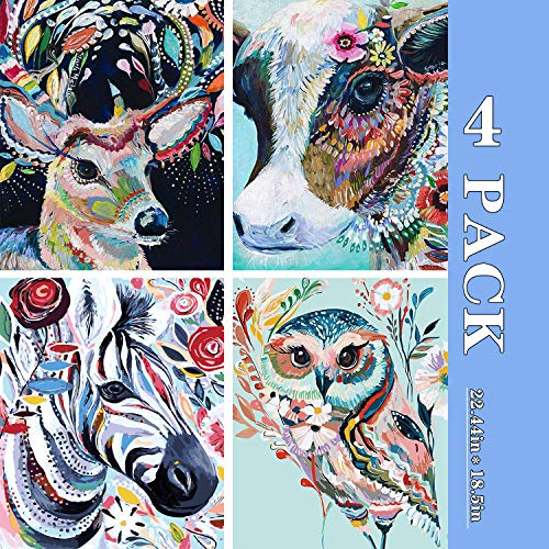 "4 Pack DIY Paint by Numbers for Adults SENWANG Canvas Oil Painting Kit Suitable for All Skill Levels 16"" W x 20"" L Art Craft Best Gift for Home Wall Decoration-Colorful Cow Horse Owl and Deer"