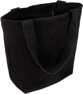 Cottonbagjoe stylische geräumige Tragetasche | mit Innentasche, Reißverschluss, und großem Boden | 1 Stück, Schwarz | Baum...