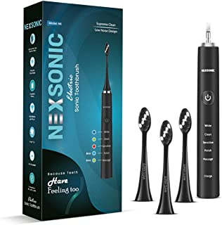 Sonic Electric Toothbrush for Adults - USB Rechargeable Battery Electronic Tooth Brush with 3 Replacement Soft Brush Heads 5 Models Travel Automatic Power Gum Toothbrushes Dentist Recommend (Black)