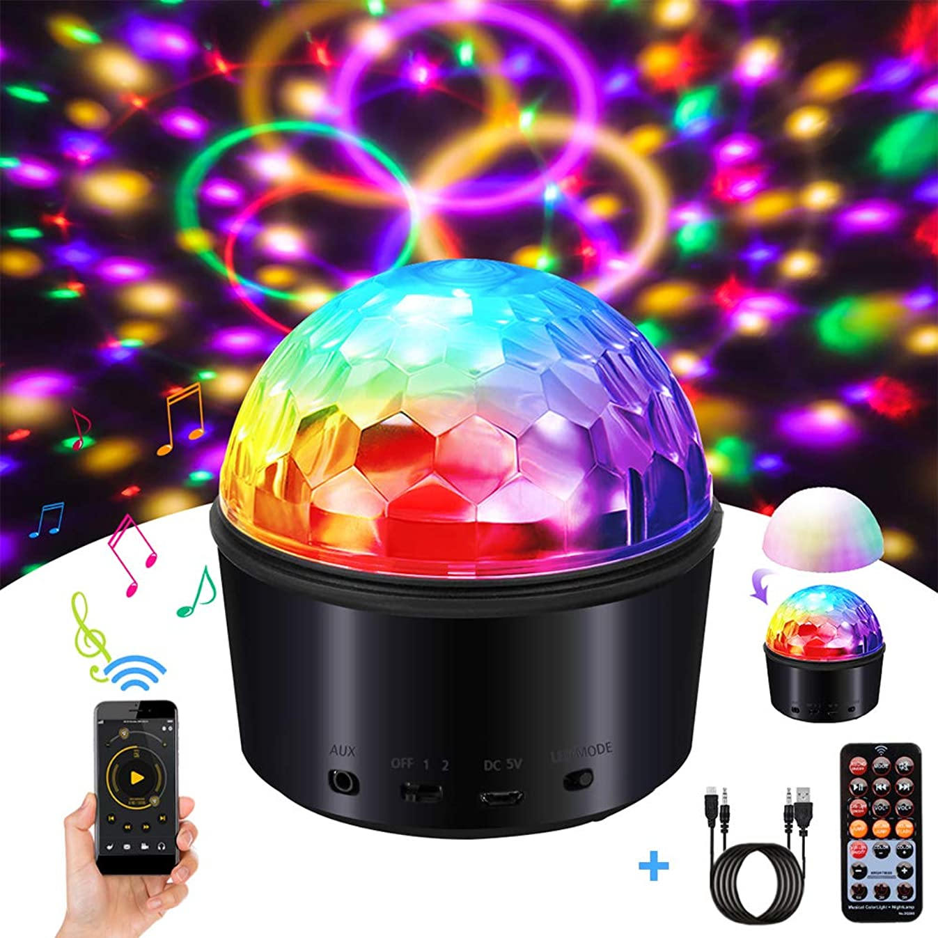 SOLMORE Party Lights Sound Activated Disco Ball with Remote Control 9 Colors Disco Lights DJ Lights Wireless Phone Connection LED Stage Light for Kids Bedroom Wedding Party Birthday 4W