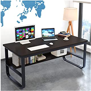 ZGstore Computer Desk- Modern Simple Computer Desk with U-Shaped Wide Leg, Corner Desk PC Laptop Drafting Writing Table Office Desk Workstation for Home Office (55.2 x 27.6 x 28.8 inches) (Black)