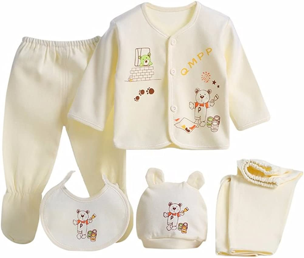 5PCS Newborn 0-3M Boys Girls Baby Cotton Clothes Tops Hat Pants Suit Outfit Sets OneSize