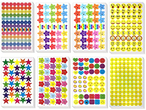 4980PCS Stickers(60 Sheet)Smiley face Stickers and Star Stickers (Random six Styles) Teachers, Children and Parents