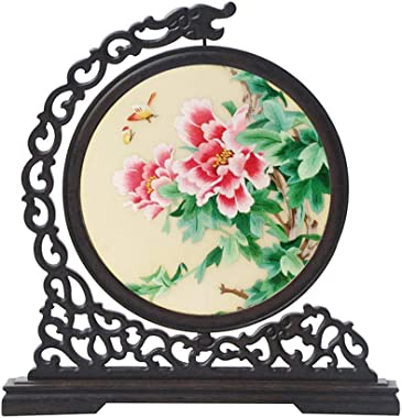SXYD Handmade Double Sided Embroidery Peony Small Screen Chinese Style Wooden Decoration Desktop Creative Home Decoration Scr