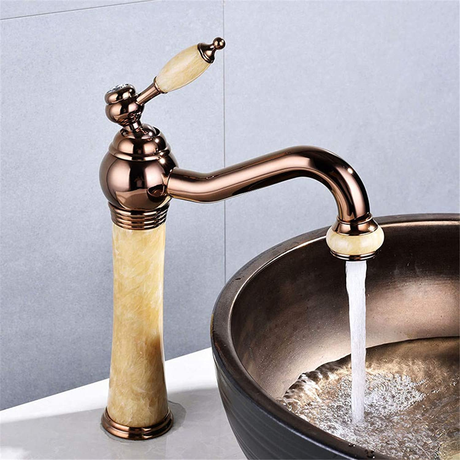 Oudan Basin Faucet pink gold Jade Bathroom Sink Faucet Hot and Cold Basin Jade Taps golden Faucet Marble Stone gold Brass Made Mixer (color   -, Size   -)