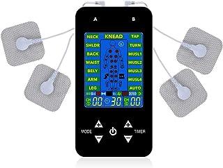 LYHD Electroestimulador Digital Recargable Masaje EMS TENS Portatil Pantalla LCD Azul 8 Modos 4 Electrodos para Alivio del Dolor de Cervical Piernas Abdominal Espalda Cuello