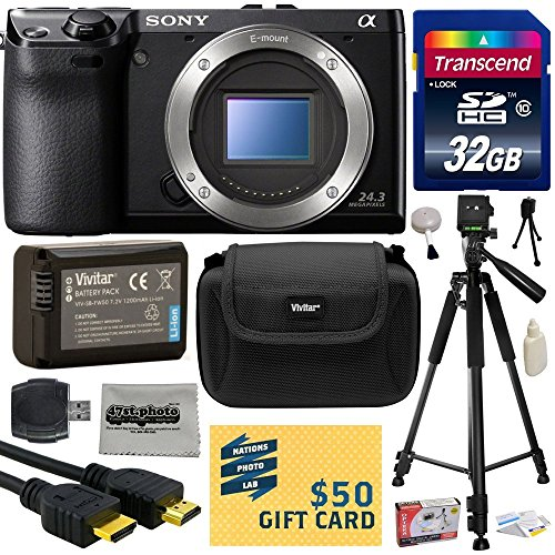 "Sony NEX-7 NEX7 NEX7/B Compact 24.3 MP Mirrorless Interchangeable Lens Camera - (Body Only) with Best Value Accessories Bundle Kit includes includes 32GB Class 10 SDHC Memory Card + Replacement (1200mAh) NP-FW50 Battery + Professional 60"" Inch Photo/Video Tripod + Hard Shell Carrying Case + High Speed USB Reader/Writer + HDMI Cable + Camera Lens Cleaning Kit + Bonus $50 Gift Card for Digital Prints"