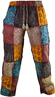 Gheri Paisley Patch Cotton Hemp Printed Casual Funky Striaght Trousers
