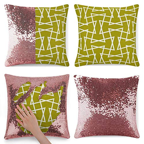 Tamengi Sequin Pillow Cover, Retro Mod Zigzag Pattern Chartreuse, Zipper Pillowslip Pillowcase, Decorations for Sofas, Armchairs, Beds, Floors, Cars
