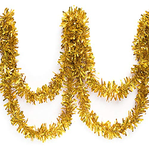 Anderson's Iridescent Shimmer/Glitter Sparkle Garland, Gold - 4 inches Wide x 25 feet Long