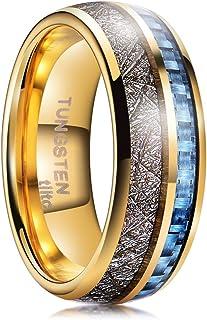 خواتم تنغستن من tiitc للرجال والنساء، خواتم زفاف ميتورايت للرجال، خاتم وعد له مع ألياف الكربون الأزرق الراحة صالح 8 مم