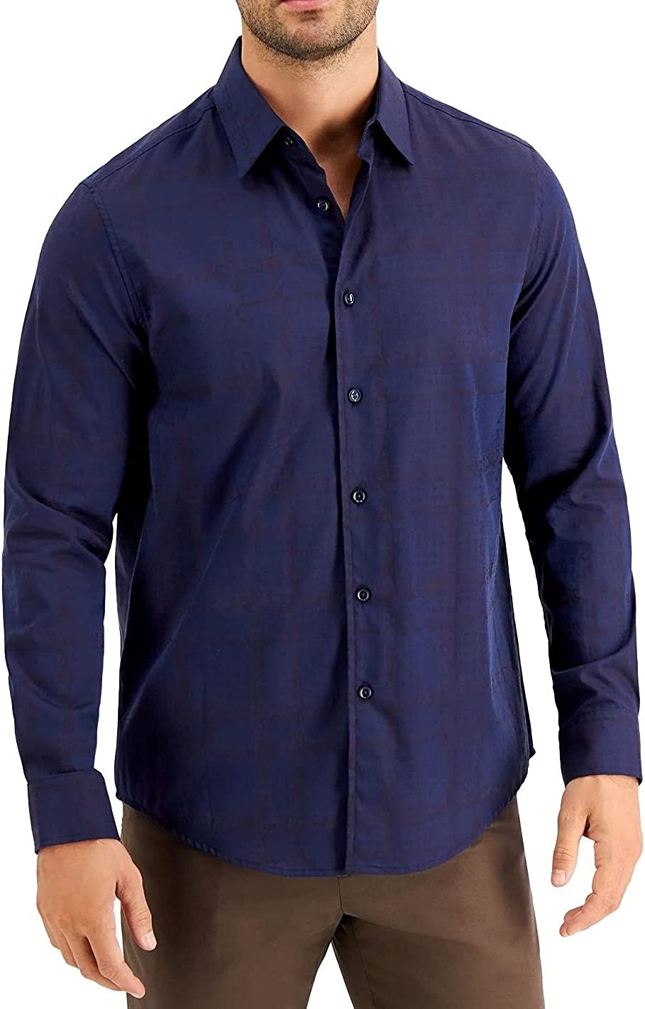 Tasso Elba Mens Shirt Navy Plaid Paisley Print Button Up Blue XL