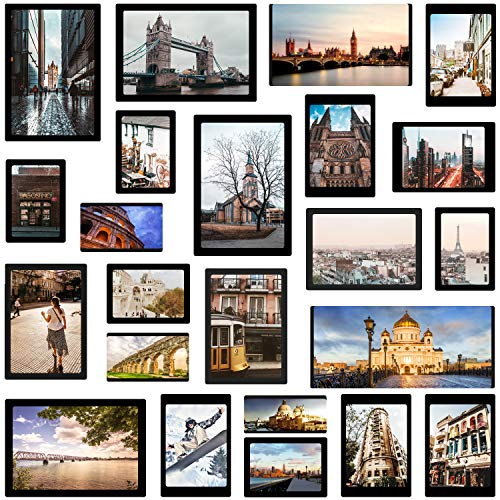 Magnetic Photo Pocket Picture Frame, Photo Collage for Refrigerator, Holds 4X6 inches, 3.5X5 inches, 3X4.5 inches, 2.5X3.5 inches, and a Free Combination Dimensions, 15 Pack, Black…