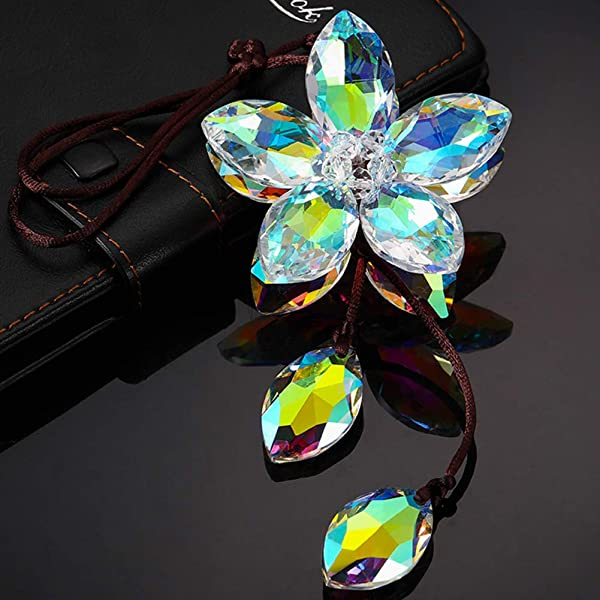 XIANGBAN Shining Crystal Flower Car Interior Decorative Lucky Ornaments K9 Car Pendant Anniversary Five Leaves Colorful