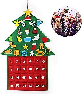 Calendario de Adviento de Navidad, Árbol de Navidad Fieltro por 24 Días de Cuenta Regresiva para Navidad, con 21 Velcros, Adornos y Bolsillo de Almacenamiento, Permitir Decoración DIY, 67.5 * 100 CM