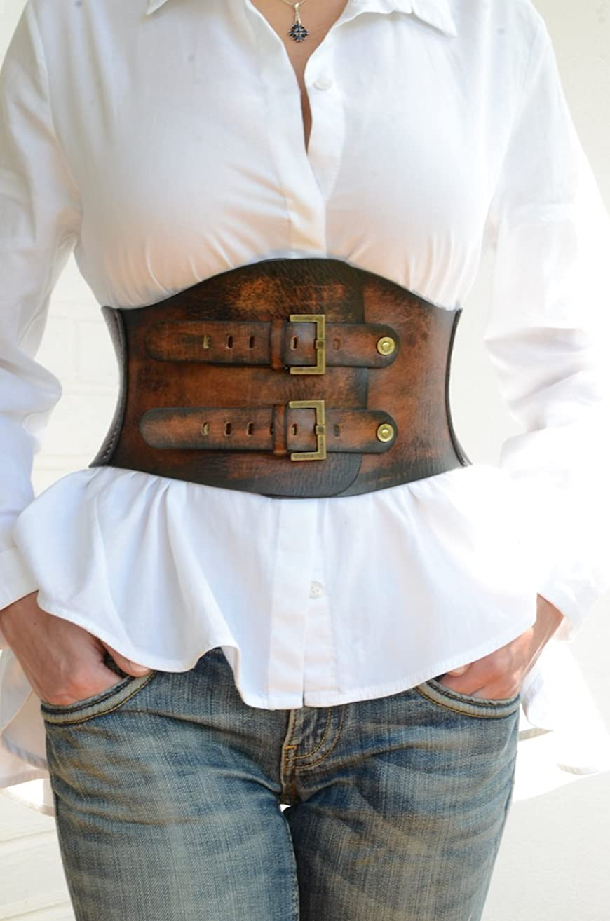 Wide Leather Corset Belt 6,7 inches wide