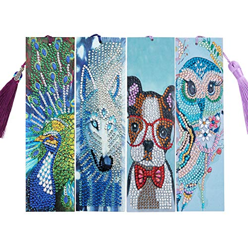 4 Pack DIY Beaded Bookmarks 5D Diamond Painting Bookmarks Animal Bookmark for Home Office School DIY Making Arts Crafts Gifts Adults and Beginners