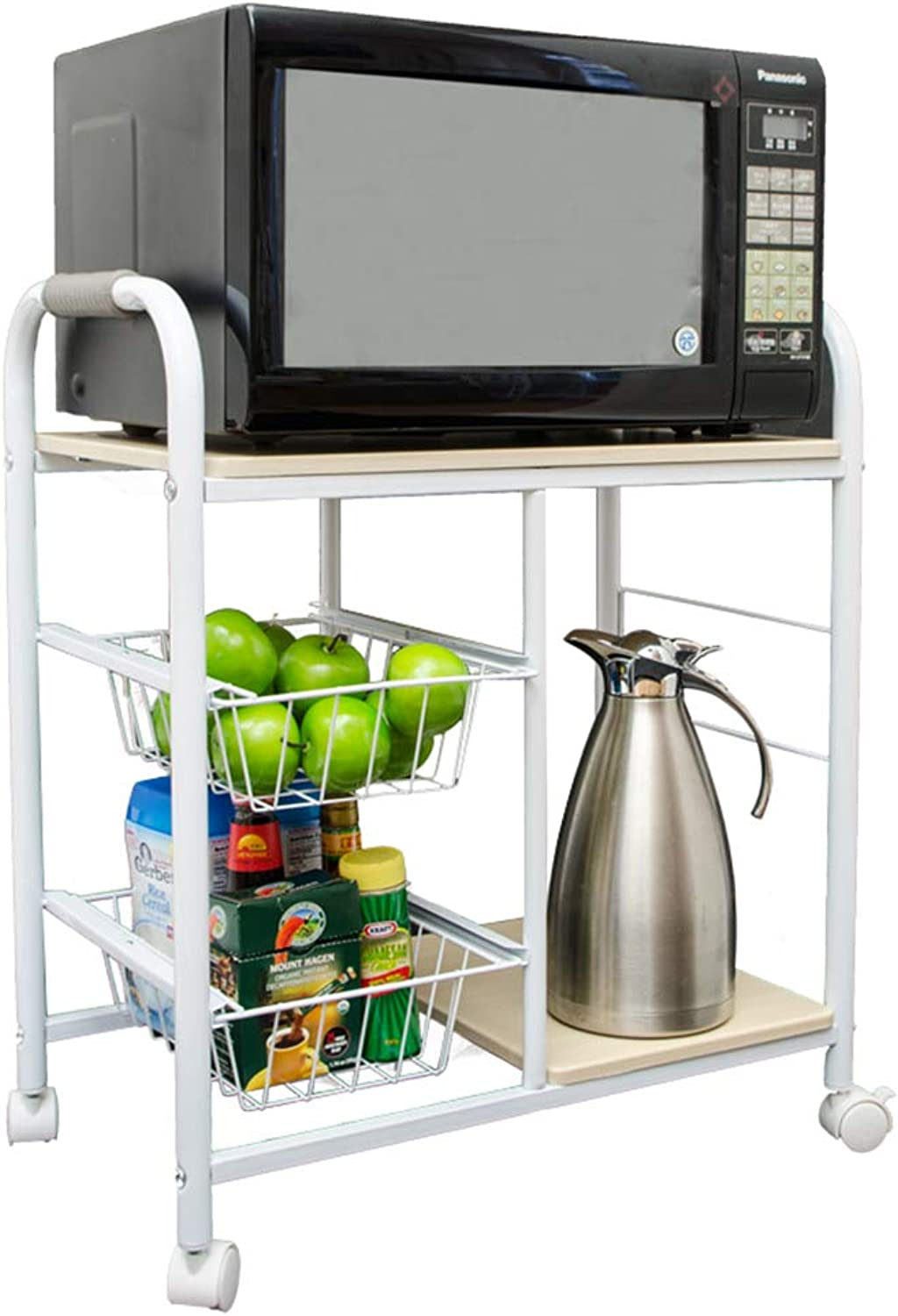 Kitchen Island Dining Cart Basket Rolling Microwave Storage Shelves Organizer Multifunction Utility Trolley, for Dining Rooms Kitchens and Living Rooms (White)