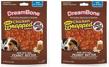 Dreambone Chicken Wrap Mini Stick Small Breed Peanut Butter Chews Dog Treat, 20 Ct --2 Pack