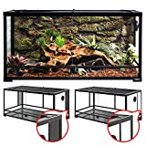 REPTI ZOO 50 Gallon Reptile Glass Tank Terrarium 2 in 1 Side Meshes and Side Glasses Double Hinge Door with Screen Ventilation Tempered Glass Reptile Terrarium 36' x 18' x 17.75'
