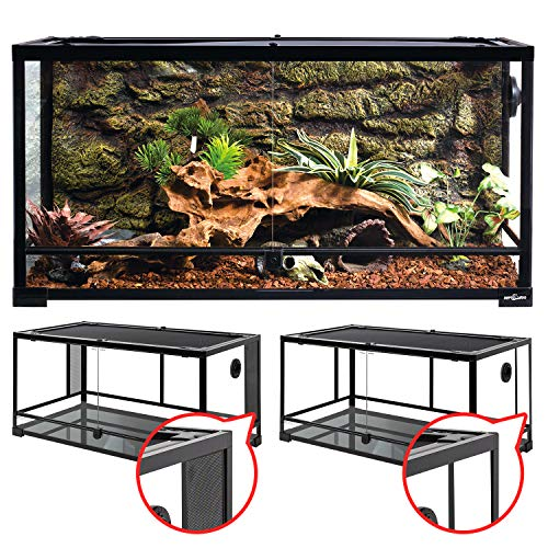"""REPTI ZOO 50 Gallon Reptile Glass Tank Terrarium 2 in 1 Side Meshes and Side Glasses Double Hinge Door with Screen Ventilation Tempered Glass Reptile Terrarium 36"""" x 18"""" x 17.75"""""""