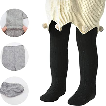 Zando Baby Girls Tights Soft Cable Knit Cotton Leggings For Baby Big Girls Toddler Seamless Socks