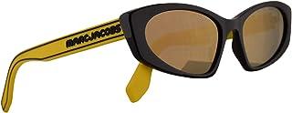 Marc Jacobs Marc 356/S Sunglasses Black w/Yellow Rubber Temples & Grey Bronze Mirror Lens 54mm 40GJO Marc 356S Marc356S Ma...