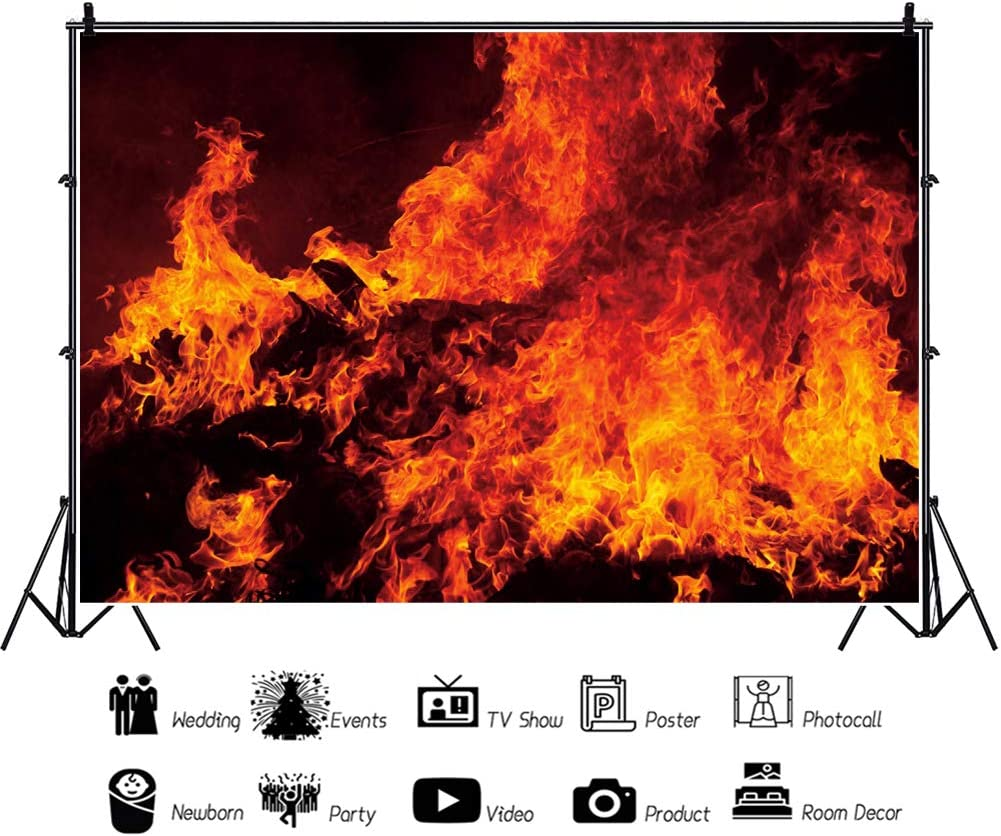CSFOTO 14x10ft Fire Backdrop Raging Dancing Fire Flame Dark Black Fire Fighter Themed Birthday Party Camping Bonfire Party Background for Photography Adults Kids Portrait Studio Props