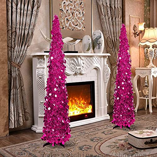 Joy-Leo 5 Feet Pink Sequin Pop Up Tinsel Christmas Tree, Easy to Assemble and Store, for Small Spaces Apartment Fireplace Party Home Office Store Xmas Decorations