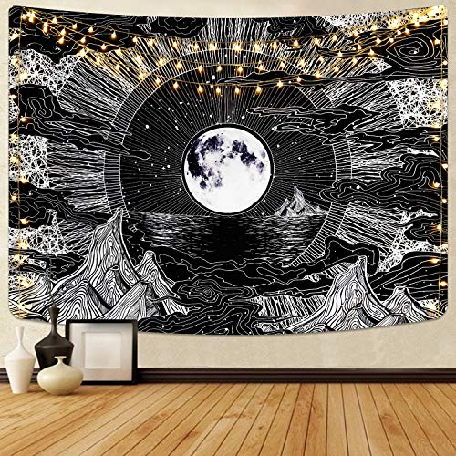 Alishomtll Mond und Stern Wandbehang Wandteppich Wolke Schwarz Weiss Psychedelic Wandtuch für Zimmer 130 x 150 cm