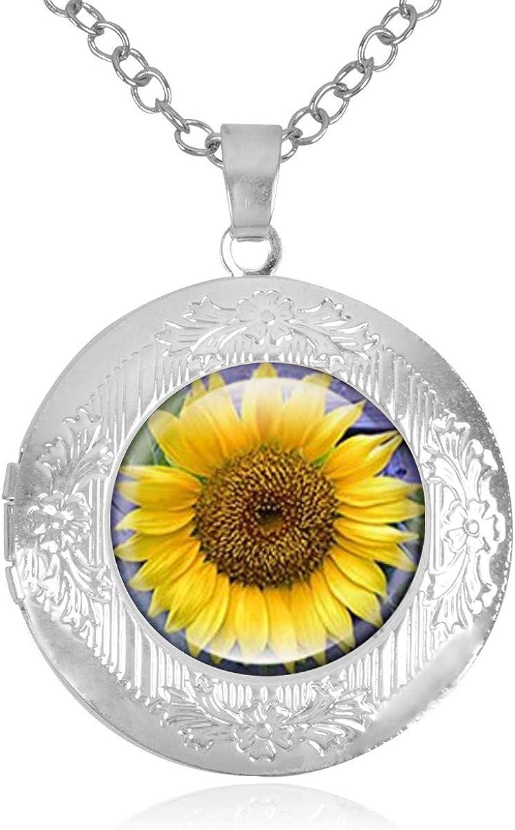 Sale item Sunflower Vintage Yellow Floral Locket Nashville-Davidson Mall Holds That Pictu Necklace