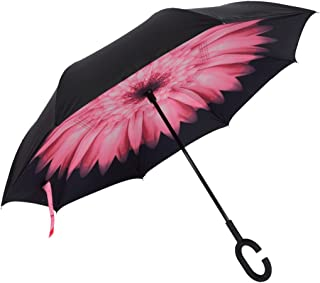 Dopobo Double Layer Inverted Umbrella Cars Reverse Umbrella Extremely Waterproof and Windproof Inverted Umbrella with C-Shaped Handle (Pink) (P-D)