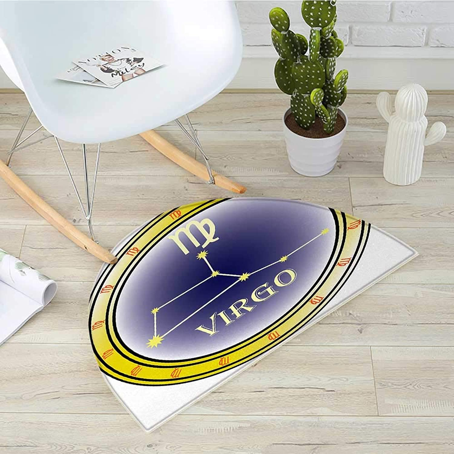 Zodiac Virgo Semicircular CushionHgoldscope Constellation and Sign in a Circle Destiny and Future Entry Door Mat H 39.3  xD 59  Navy bluee Yellow orange