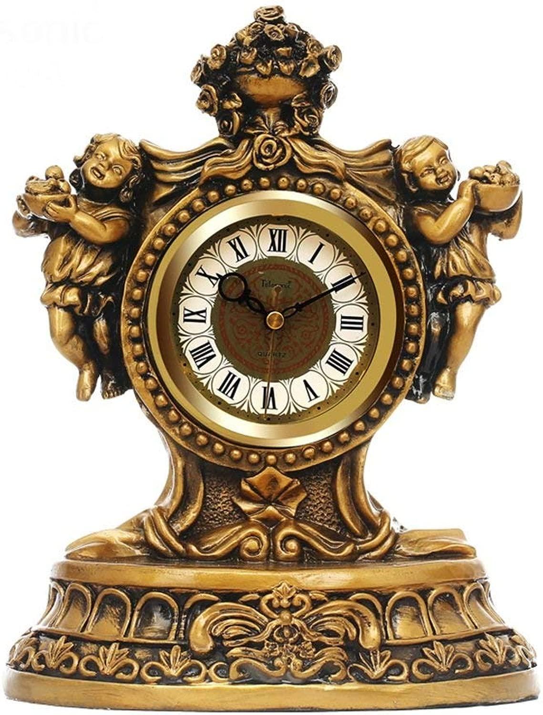 デスククロックファミリークロックヴィンテージ装飾樹脂置時計リビングルームミュート時計オンヨーロッパアンティーククォーツ時計テーブルリビングルームの寝室のオフィスに適して