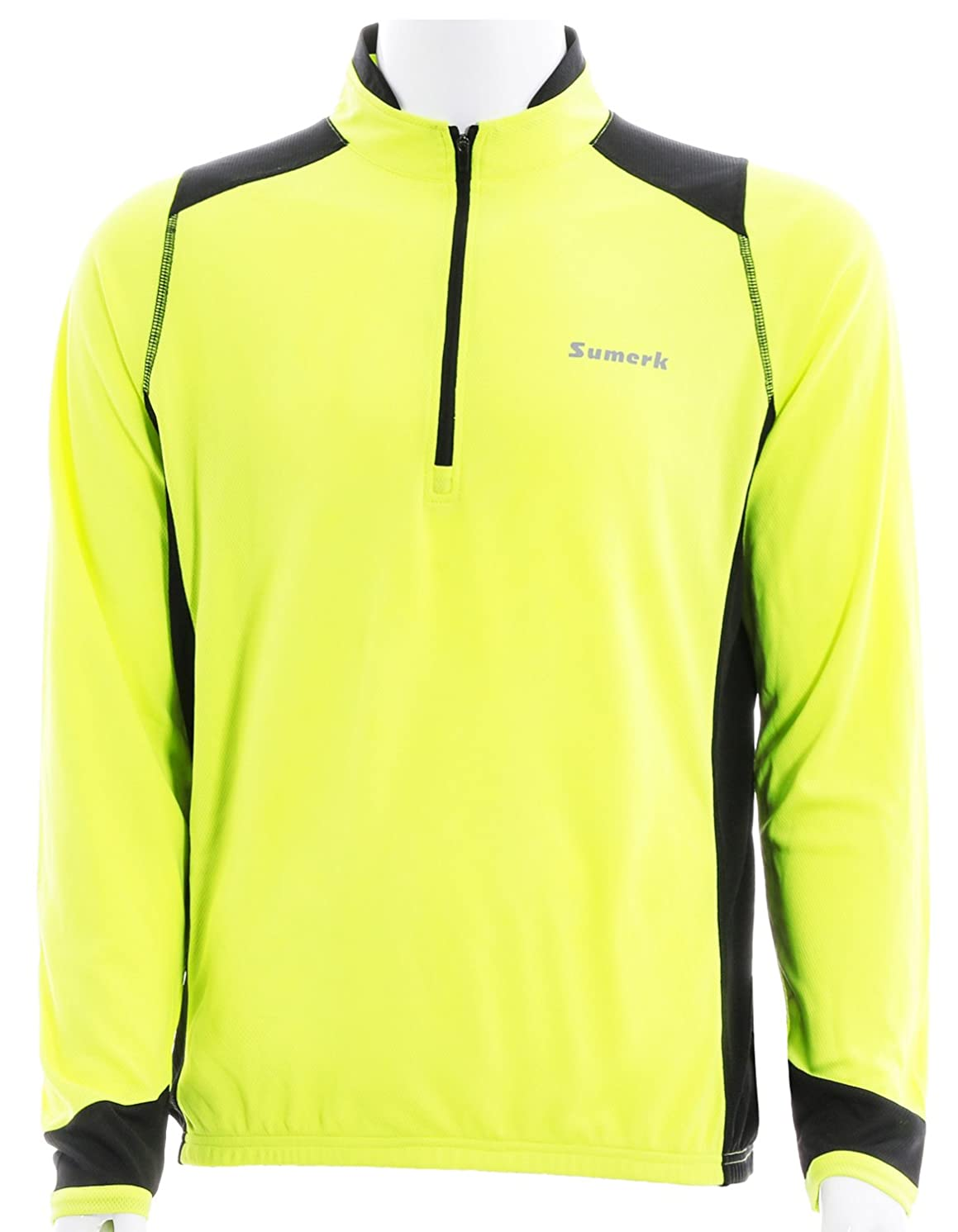 Sumerk Men's Long Sleeve Cycling Jersey with Pockets, Reflective Bike Biking Shirt - Breathable and Quick Dry