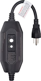 ELEGRP G1215CM Manual Reset GFCI Replacement Plug In-Line Assembly 15 Amp 3 Wires 3-Prongs NEMA 5-15P Grounding for Power Tools, Lawn Equipment and More, UL Listed (1 Pack, Black)