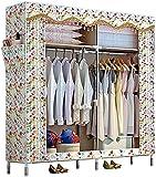 Armario Paño de Dormitorio Ensamblaje de Tubos de Acero Paño de Almacenamiento Hogar Dormitorio Habitación de Alquiler Simple 122X46X172cm (Color: F) sólido