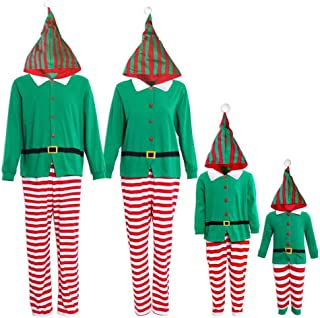 Family Matching Christmas Pajamas Set One Piece Striped Hooded Sleepwear Santa Claus Elf Cosplay Outfit for Kids Adult