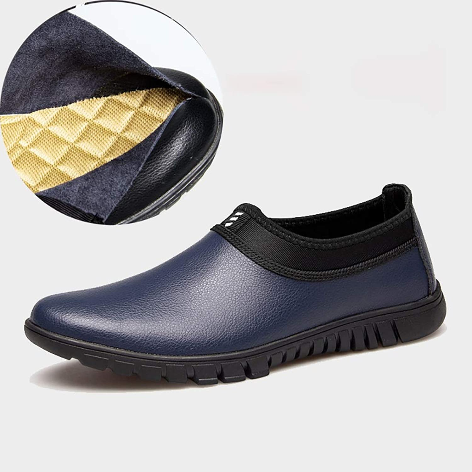 RJNSPx Leather shoes men's leather non-slip shoes, round head wild, no need to tie the laces mens dress shoes (color   bluee, Size   45 EU)