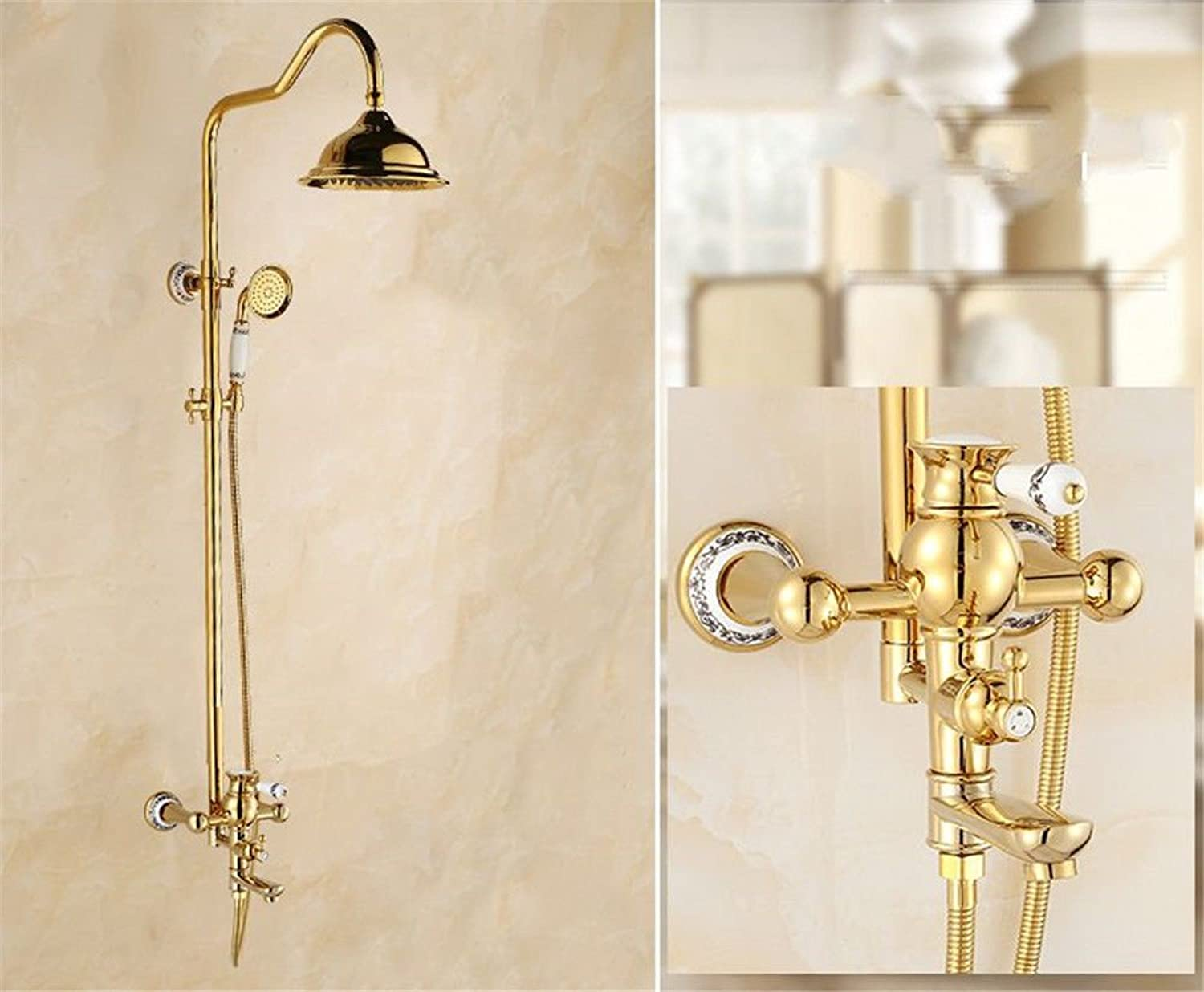 ETERNAL QUALITY Bathroom Sink Basin Tap Brass Mixer Tap Washroom Mixer Faucet The gold bath shower faucet shower set wall mounted the brass shower head and hand held show