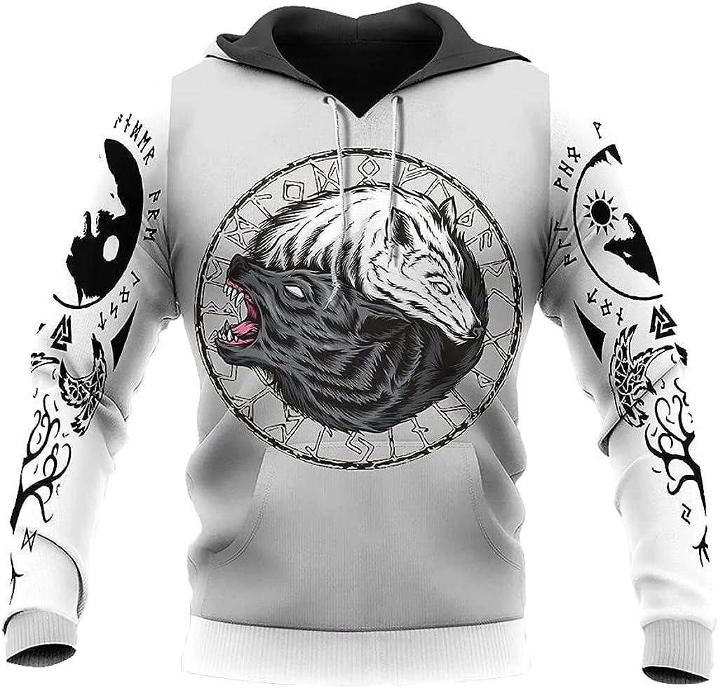 Fenrir Wolf Hoodie 3D Printed Viking Tattoo Zipper Sweatshirt Casual Loose Harajuku Style Casual Loose Fall Jacket