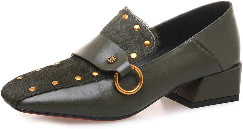 Nine Seven Genuine Leather Women's Square Toe Chunky Heel Unique Fashion Handmade Cute Retro Pumps shoes