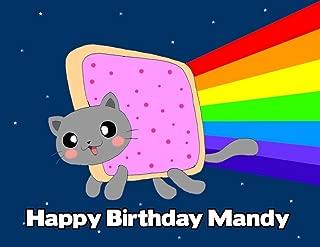 Nyan the Cat Rainbow Image Photo Cake Topper Sheet Personalized Custom Customized Birthday Party - 1/4 Sheet - 77595