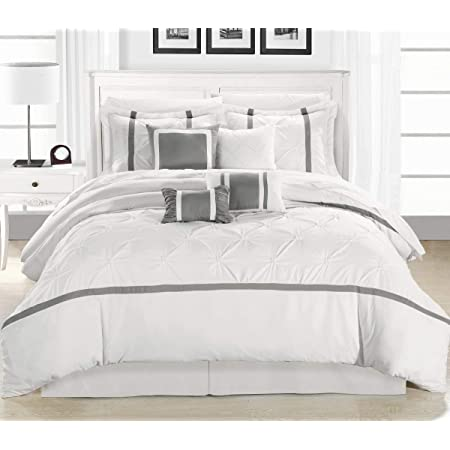 Amazon Com Chic Home 8 Piece Vermont Comforter Set King White Home Kitchen
