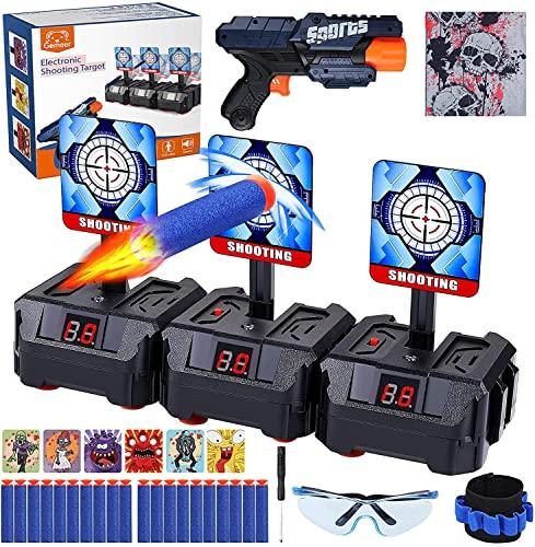 Gemeer Electronic Digitale Zielscheibe für Nerf - Auto Reset Electric Digital Targets with Foam Dart Boys Toy Guns,Schießspielset mit Brille,Bullet-Armband und Stirnband, Zielübungen für Kinder