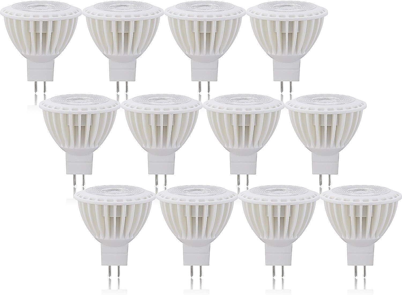 OSSUN MR16 GU5.3 LED-Leuchtmittel, warmes Tageslicht, kaltwei, 3000 K, super hell, 5 W, nicht dimmbar, entspricht 50 W Halogenlampen, 12 Stück, Tageslicht Weiß, MR16, 5.00W 12.00V